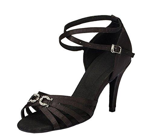 Minitoo strass pour chaussures de danse Satin moderne latine Noir