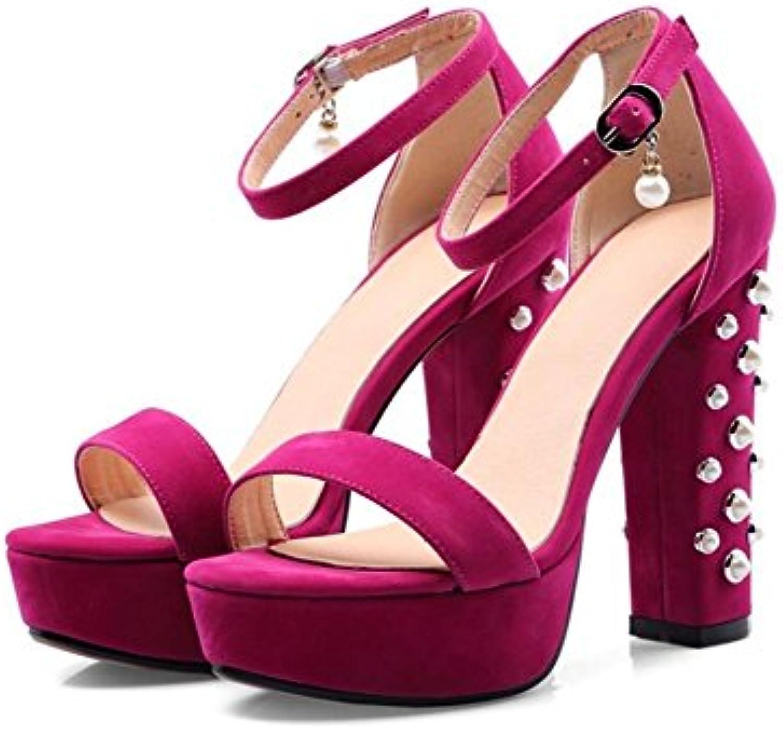 JRFBA-Zapatos Verano sexy con tacones y sandalias de plata perlas transparentes,Treinta y siete,Plateado -