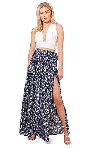 Womens Navy Bali Woven Ditsy Floral Wrap Maxi Skirt - 10