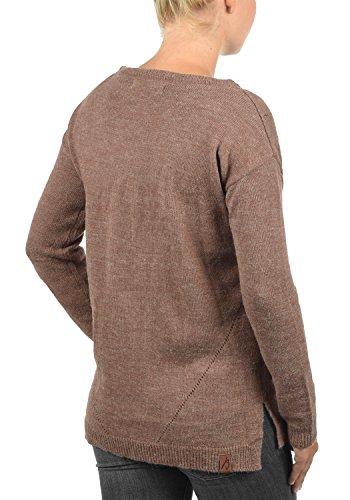 BLEND SHE Nana Damen Strickpullover Feinstrick mit Rundhals-Ausschnitt und Loch-Strickmuster aus hochwertigem Material Meliert Clove