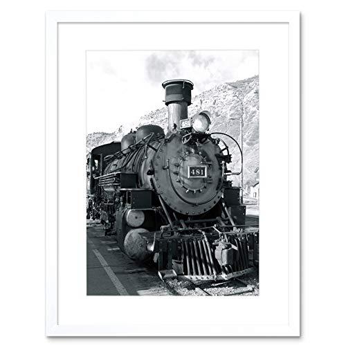 PHOTOGRAPH BLACK WHITE TRAIN STEAM ENGINE FRONT FRAMED ART PRINT MOUNT B12X9960 (Mount Engine Front)
