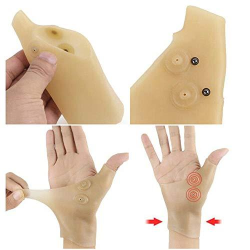 Preisvergleich Produktbild SMILEQ® 2 STÜCKE Magnetfeldtherapie Handgelenk Hand Daumen Unterstützung Pressure Corrector Schmerzlinderung (beige)