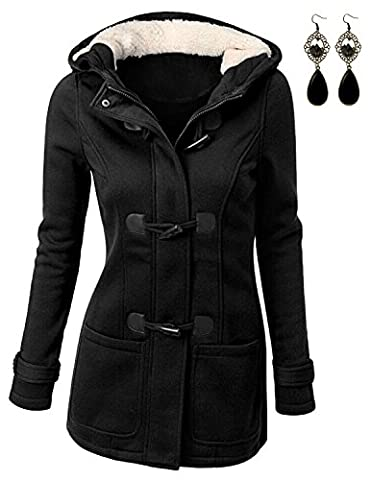 M-Queen Femme Manteaux à Capuche Gilet Bouton épais Blouson Hiver Hoodie Veste Jacket Casual Outwear Coat Fleece Manteau - Noir - M/EU36-38