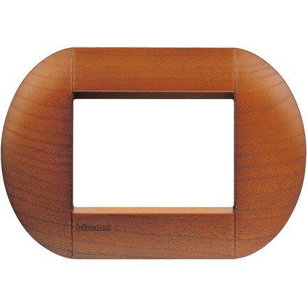 Bticino livinglight - Placa 3 módulos cerezo americano