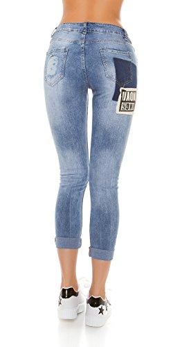 Trendy Jeans mit Flicken und Nieten, Optik im Used-Look Jeansblue