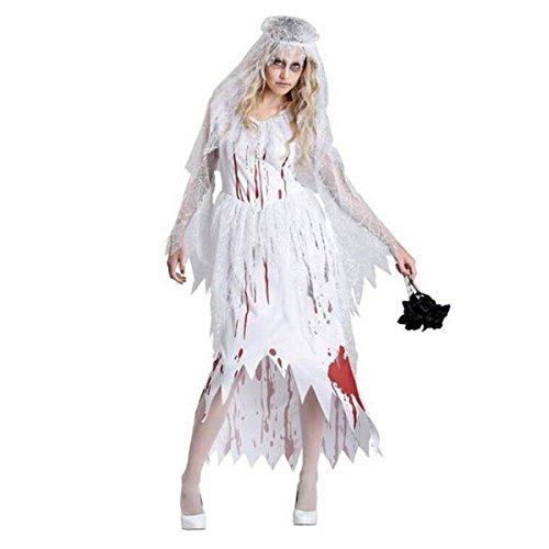 HAOBAO Halloween Frauen schrecklich Gespenstische Braut Kleid Set Cosplay Zombie Kostüm, one Size (Nicht Gespenstische Kostüm)