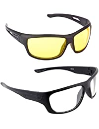 2130b8951a8d Elligator NightDrive Night Vision Anti Glare Wrap Unisex Sunglasses Pack Of  2 (NVL01