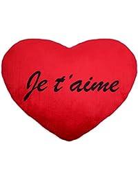 Coussin péluche géant en forme de coeur rouge avec l'inscription je t'aime en noir Idée cadeau saint valentin Ambiance amoureuse agréable et romantique garantie, choisir:Je t'aime 60cm 63/2142