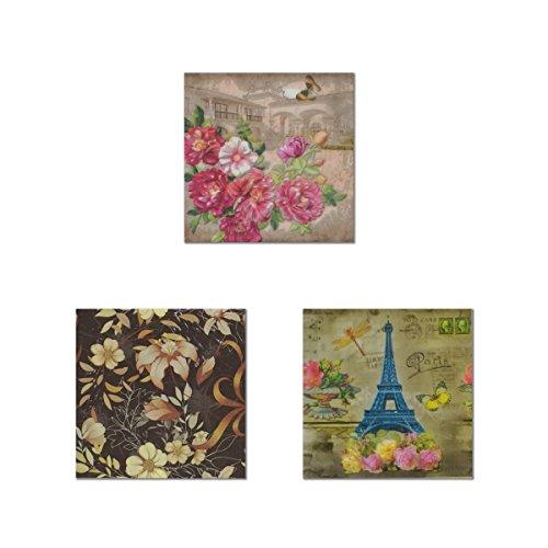 Einweg farbigen Blumendruck Papier Servietten 2-lagig für Partys und Events (je 3Motive sortiert, 20-count) Dinner Servietten Floral