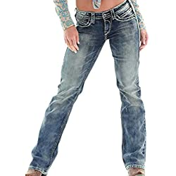 Guiran Mujer Rectos Vaqueros Anchos Push Up Boyfriend Jeans Retro Rotos Elasticos Pantalones Azul Oscuro M