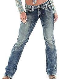 1f5fa79f84d Guiran Mujer Rectos Vaqueros Anchos Push Up Boyfriend Jeans Retro Rotos  Elasticos Pantalones Azul Oscuro M