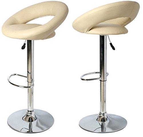 Produktabbildung von Kronenburg  2 x Barhocker Mond drehbar und höhenverstellbar in Creme oder Farbwahl