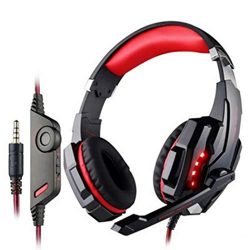Mzq-yq Headset Computer Gaming Kopfhörer, hautfreundliche Ledertasche 3,5 mm + USB-Einlochkopfhörer für PS4, Laptop und andere Einlochgeräte (Farbe : Rot)
