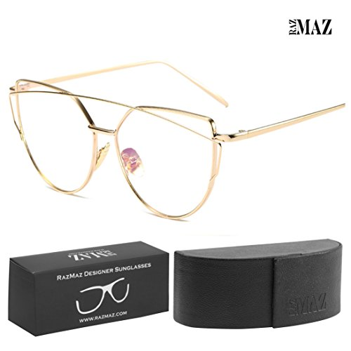 RazMaz Cat-Eye Sun-glasses for Women Men Latest Stylish Mirror - Design Polarized Metal Flat Lenses with Sunglass Case- UV400 Protection