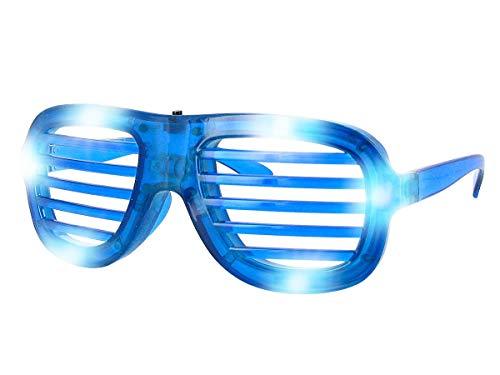 Blinkende LED Atzenbrille Shutter Shades ohne Glas viele Farben, farbe wählen:blau