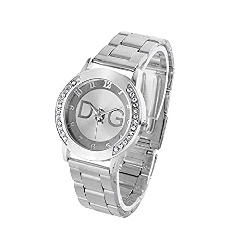 Famous Brand Designer Copy Luxury Watch Gold Plated Silver Ladies Rhinestones Stainless Steel Gift