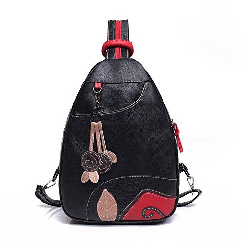 Rucksack aus Leder gewaschen/Lässige Brust Pack/Kleiner Rucksack-A A