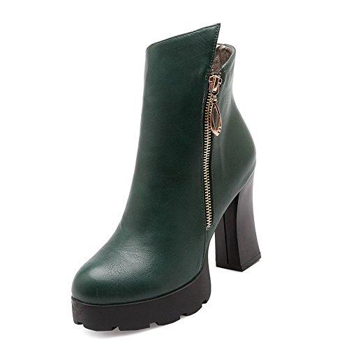 Damen Hoher Absatz Weiches Material Reißverschluss Stiefel, Braun, 35 VogueZone009