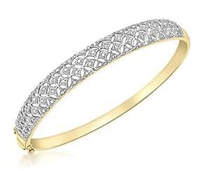 Carissima Gold 9ct Yellow Gold 0.15ct Diamond Filigree Bangle