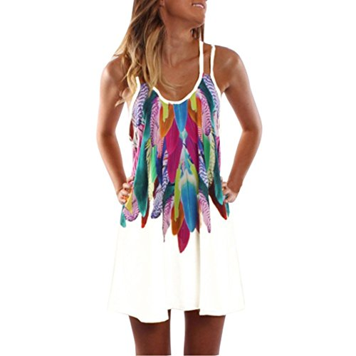 ESAILQ Damen Ärmelloses Beiläufiges Strandkleid Sommerkleid Tank Kleid Ausgestelltes Trägerkleid Knielang(S,Weiß)