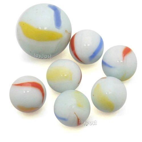 ToyPost - Retina con set di 50 biglie di marmo tricolore, bianco latte