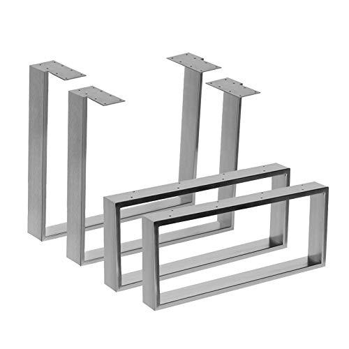 2x Tischgestell aus Edelstahl in 2 Oberflächen Hochglanz & gebürstet in 10 Varianten zur Auswahl (80x70cm, Gebürstet)
