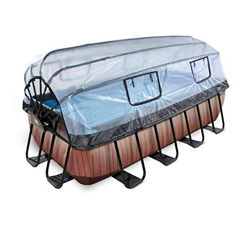 EXIT Piscina Wood 400 x 200 cm con Cubierta y Bomba con Filtro de Arena - marrón