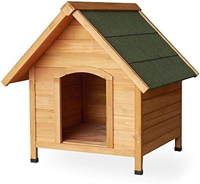 Caseta de perro, refugio, madera de abeto, con tejado, madera maciza, 720x 760x 760mm