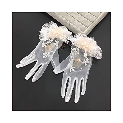 Brauthandschuhe Bankett Party Elegante Spitze Gestickte Bogen Verzierte Handschuhe Hochzeit Zubehör Foto Reisehandschuhe (Color : A01)