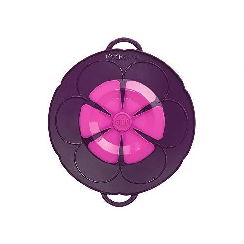 Kochblume vom Erfinder S 22 cm Silikon lila Überkochschutz für Töpfe und Pfannen | Überkochstopp und Spritzschutz für Topfgrößen von Ø 14 bis 18 cm | Set mit Microfasertuch!