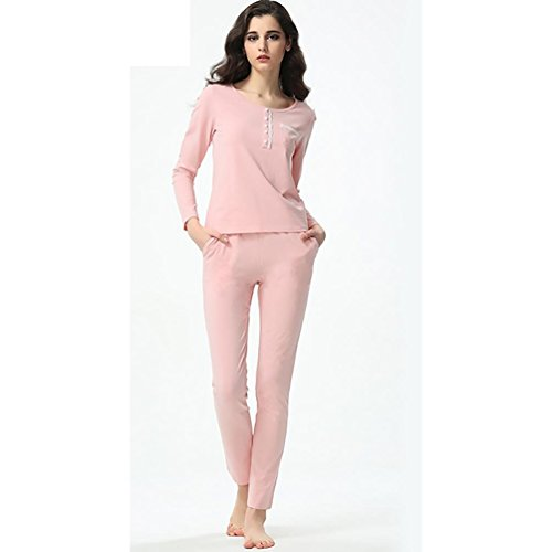 SHUGJ Nuova signora grandi cantieri pantaloni a maniche lunghe comodi pigiami della tuta , pink , xl (165/88a)