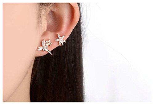 Epinki Damen 1 Paar Rosegold Blumen Elegante Ohrklemme Ohrringe 925 Silber Fake Piercing Ear Cuff Ohr Klammern Fake Piercing Fake Loch Piercing