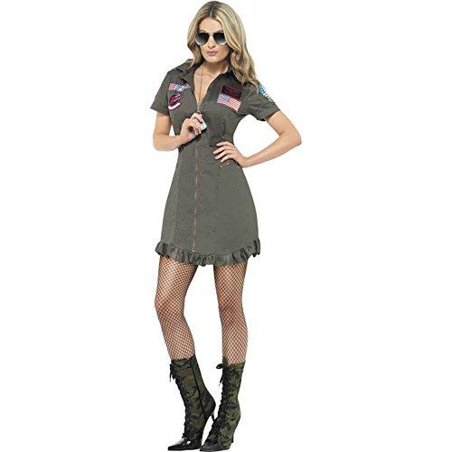 Smiffys Top Gun Damen Kostüm Pilotin Overall Jumpsuit Karneval Fasching - Top Gun Kostüm Damen Overall