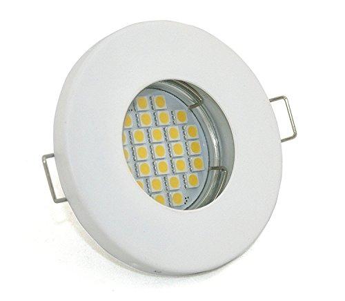 LED Bad Einbaustrahler Set 230V IP65 Farbe Weiss-Matt inkl. GU10 5Watt LED 2700Kelvin warm-weiß 450Lumen Leuchtmittel austauschbar
