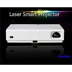 Proyector láser 3D, proyector de Cine en casa Deeirao DLP Mini 1080p Android6.0 Doble Banda WiFi Quad Core HDMI USB3.0 RJ45 Bluetooth4.0 LED y láser MK65X Blanco