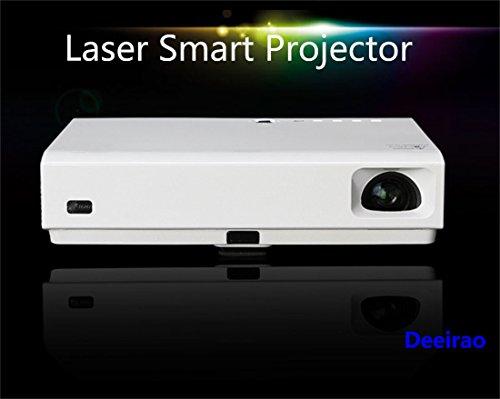 Laserprojektor 3d, DLP Projektor Heimkino deeirao Mini 1080P WLAN Dualband Android4.4Quad Core HDMI USB3.0RJ45Bluetooth4.0LED und Laser mk65X weiß