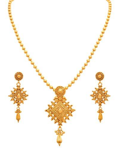 JFL - Traditional Ethnic One Gram Gold Plated Designer Pendant Set for Women and Girls