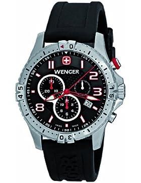 Wenger Herren-Armbanduhr XL Squadron Chrono Chronograph Quarz Silikon 77055