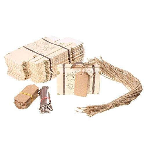 FGF-EU Geschenk-Boxen 50Stück Vintage-Mini-Koffer Dekoration Candy Box Karton, Jute für Hochzeit Geburtstag Baby Dusche
