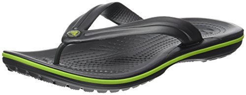 Crocs Unisex Adults' Crocband Flip Flops, Grey (Graphite/Volt Green), 4 UK 37/38...