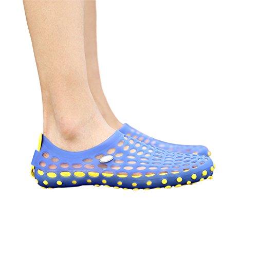 Meijunter Männer Höhle ausholen Sandalen Atmungsaktiv Strandschuhe Hausschuhe Cool Schuhe Blau w/Gelb