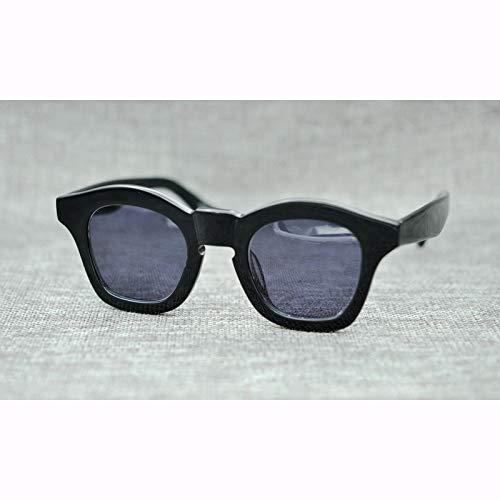 LKVNHP Acetat Vintage Runde Polarisierte Sonnenbrille Männer Retro Schwarz Sonnenbrille Für Männer Markendesigner Brillen Uv400 Unregelmäßige SchattierungenSchwarz