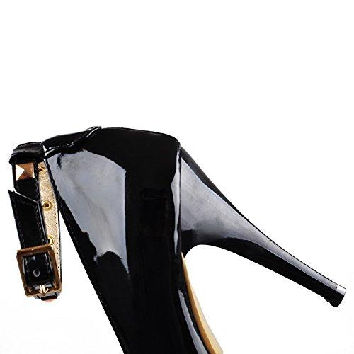 AllhqFashion Femme Pointu Stylet Couleur Unie Boucle Chaussures Légeres Noir