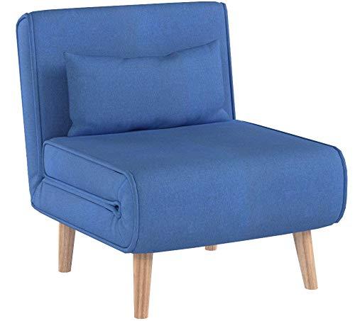 Schlafsessel HWC-D35, Schlafsofa Funktionssessel Klappsessel Relaxsessel Jugendsessel Sessel, Stoff/Textil ~ blau