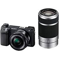Sony NEX6 Interchangeable Lens Digital Camera 16.1MP with 16-50mm Zoom & 55-210mm Telephoto Lens Kits - Black