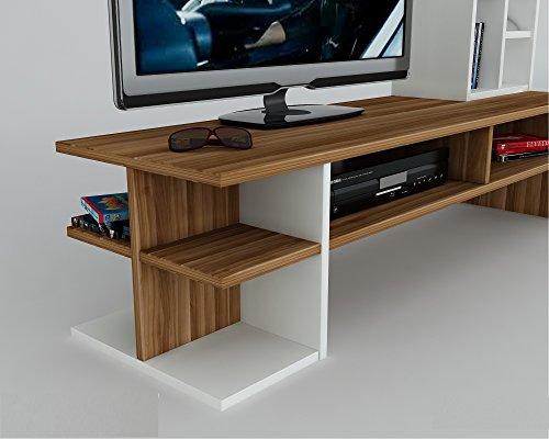 DUO Wohnwand – Weiß / Nussbaum – TV Board / Lowboard in modernem Design - 4