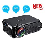UKSoku U90 Mini Beamer Full HD 1080p Video LED Projektor 3000 Lumens 3D Heimprojektor HDMI SD TV VGA-Unterstützung Rot und Blau 3D Spiele Filme Für Party Unterhaltung /Home-Entertainment (Schwarz)