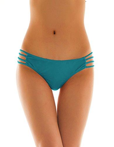 SHEKINI Damen Tanga Bikinihose String Rüschen Brazilian Bikini Slip Schnüren Höschen (Medium, Dunkelgrün) (String Baumwolle Bikini)