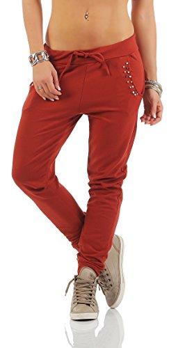 JONEEL Damen Sweathose Sporthose Trainingshose Bundhose Sweatpants Mit Steinchen (Cognac, L)