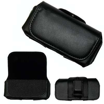 Executive Black Horizontal Leather Side Case Pouch with Belt Clip and Belt Loops for RIM Blackberry 8100 Pearl, 8110, 8120, 8130 / Kyocera K126C, S1300 (Melo) / LG CF360 / MOTOROLA C139, VE240, W233 (Renew), W450 (Active), Z3 / Nokia 1208, 1600, 1661, 1680, 2610, 2865I, 3100, 3220, 6030, 6235I, 6275i, 6650, 7250 [Perfect Fit by Accessory Export]